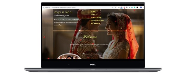 Mobile wedding website with native background image